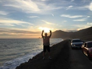 Keith Doing Tai Chi at sunset in Point Mugu, California